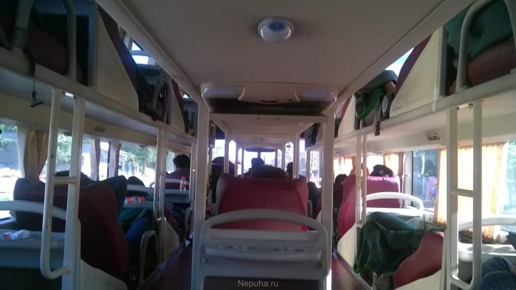 inside sleeping bus